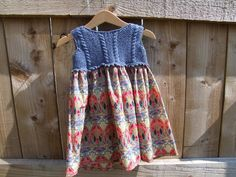 Hand knitted Liberty Print Girl's Dress £15.00