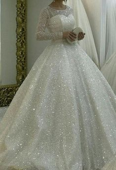 Sparkly White Wedding Dresses Bridal gown Prom Dresses from dressydances prickelnde Pailletten Brautkleider Brautkleid # Muslim Wedding Dresses, White Wedding Gowns, Princess Wedding Dresses, Dream Wedding Dresses, Bridal Dresses, Wedding Dresses With Bling, Poofy Wedding Dress, Diamond Wedding Dress, White Ball Gowns