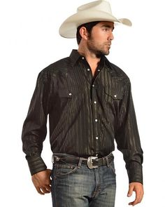 Gibson Trading Co. Black Lurex Western Shirt