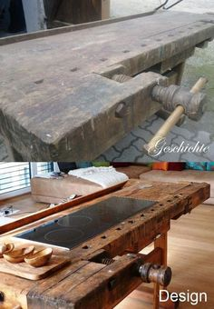 Summer style!! DIY!! Use an old wood workbench as a kitchen island - with an electric cooktop!