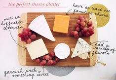 Serving up a great cheese platter is an art. For most, it's a skill that is cultivated and learned with time and multiple tastings… 4 Cheese-Plate Friendly Cheese Categories Aged: Aged Ched. Wine And Cheese Party, Wine Cheese, Appetizer Recipes, Appetizers, Cooking Photos, Cooking Tips, Cheese Platters, Party Platters, Serving Platters