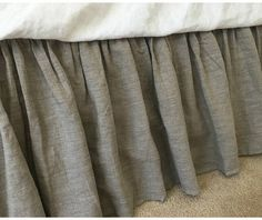 "20% Off - Dark Linen Bed Skirt, Queen Dust Ruffle 22"" drop, Ready to Ship by CustomLinensHandmade  185.00 USD  This linen bed skirt will boasts the appearance of a typical bedroom, in rich dark linen shades, classic and elegant. This bedskirt is handcrafted with natural linen and accented with full gathered ruffle look. Medium weight linen fabric put extra weight on the dust ruffle, makes the bed skirt drop naturally and beautifully. Made to order, with our superior workmanship, the .."
