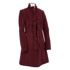 Wool Blend Coat with Ruffle-front $99.99