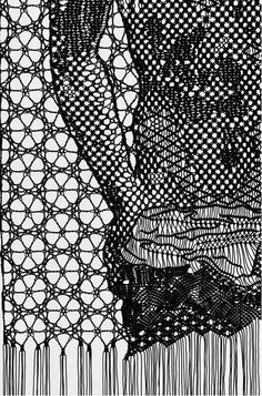 Pierre Fouché. Detail from The judgment of Paris (after Wtewael), 2013. Macramé and bobbin lace in polyester braid. 800 x 2000 mm