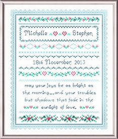 Wedding Joy - cross stitch pattern designed by Cathy Bussi. Cross Stitch Samplers, Cross Stitching, Wedding Quilts, Marriage Announcement, Wedding Cross Stitch Patterns, Stitch 2, Crossstitch, Needle And Thread, Hand Sewing