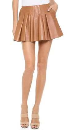 gorgeous caramel pleats Alexander Wang irregular seam leather pleated mini skirt in truffle