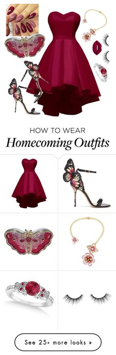 """""""Berry Butterfly"""" by loveisablindwar on Polyvore featuring Betsey Johnson, Sophia Webster, Allurez, Judith Leiber, Lime Crime and tarte"""