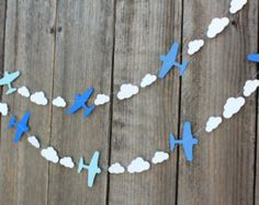 Airplane and clouds paper Garland - custom colors available - great for Disney Planes party, Aviation themes Baby Birthday, First Birthday Parties, Birthday Ideas, Baby Shower Avion, Disney Planes Party, Decoration Creche, Aviation Theme, Planes Birthday, Airplane Baby Shower