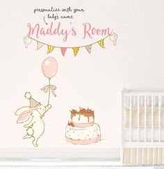 Customized Nursery Fabric Wall Decal Girl Name Reusable Bunny Repositionable Transfer Art Decor Toddler Stickers Fabric Adhesive 007WDBGC by TppCardS #tppcards #printable #invitations