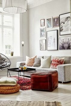 Living room with cultural pillows