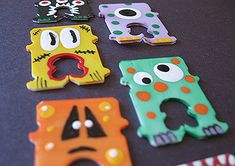 Recycled bread bag tags turned into monsters for closing Halloween treat bags...how cute are these?