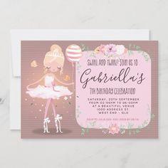 Ballerina Birthday Parties, 7th Birthday, Birthday Celebration, Colored Envelopes, White Envelopes, Pink Dessert Tables, Cute Butterfly, Custom Invitations, Birthday Decorations