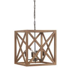 Mix vintage and modern with the Metal & Wood Chandelier in Natural. The geometric construction of the wood frame plays perfectly against the antique feel of the candlestick lightbulb sconces. A link metal chain adds visual interest from this hardwire installation hanging lamp. The warm, natural tone of the wood and dark metal lighting blend just right for a modern industrial setting or starkly contemporary pad.