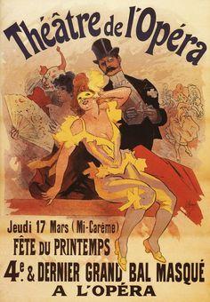 Print (Paris, France - Fourth Masked Ball at Theatre de l'Opera - Vintage Travel Poster)