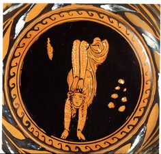 Acrobat. Apulian red figure.  Hemitage B 1691 (ex Campana). Diam. 23.3cm. They date 360-340. Muses and Masks. Theatre and Music in Antiquity (in Russian) (exhib. cat. St Petersburg 2005) no. 44.                               Special thanks to Prof. J.R. Green