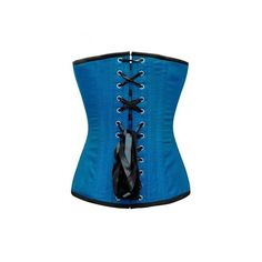 ND-140 Turquoise Corset with Button Down Placket ❤ liked on Polyvore featuring tops, corsets, zip corset, blue corset, button down top, button up top and zipper top