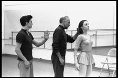 """New York City Ballet production of """"Afternoon of a Faun"""" Patricia McBride and Edward Villella in rehearsal room with Jerome Robbins, choreography by Jerome Robbins (New York) - IMAGE ID: - Vintage Dance, Vintage Ballet, Ballet Pictures, Dance Pictures, Afternoon Of A Faun, Jerome Robbins, Rehearsal Room, Dancer Photography, George Balanchine"""