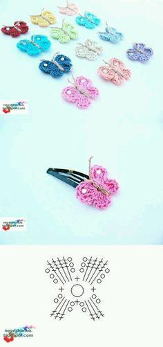 DIY Crochet Butterfly Clip DIY Crochet Butterfly Clip by diyforever Crochet Diagram, Crochet Chart, Crochet Motif, Crochet Flowers, Crochet Patterns, Crochet Butterfly Free Pattern, Crochet Appliques, Crochet Diy, Crochet Amigurumi