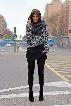 Skirt zara, print-leopard sweater and back booties by Trendy Taste.