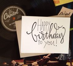 Items similar to Birthday Card on Etsy 50th Birthday Cards, Bday Cards, Doodle Lettering, Creative Lettering, Calligraphy Cards, Caligraphy, Karten Diy, Card Drawing, Fancy Fonts