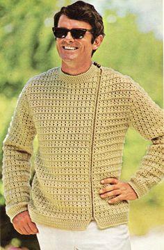 Men's Side Zip Jacket Crochet Pattern Man Coat Jacket Sweater Zipper Pattern Sizes S,M,L,XL Crochet PDF Instant Digital Download
