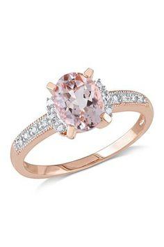 Morganite & Pave Diamond Trim Ring