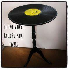 Retro Vinyl Record Side Table #howto #tutorial