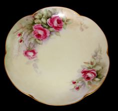 Hutschenreuther Bavaria Plate Hand Painted Roses with Gold Trim