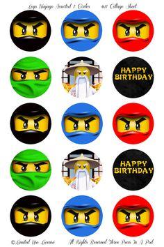 Instant Download Lego Ninjago Assorted Ninjas Printable 1 Inch Cupcake Toppers. $2.00, via Etsy.
