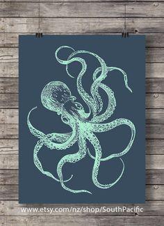 Nautical octopus print   Blueprint octopus   Navy and mint nautical art print   Kraken art print   Printable wall art   Coastal Nautical art
