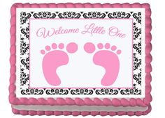 Pink Baby Feet Foot Prints  Edible  Baby by EBDesignAndPrint