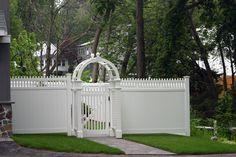 Exotic-arbor-gate-white-vinyl-fence-design-ideas