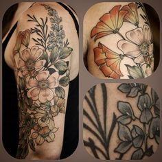 #onesitting #floral #tattoo by #kirstenholliday @onholliday #californiaflowers #botanicals #wildrose #sagebrush #lupine #californiapoppy #fremontia