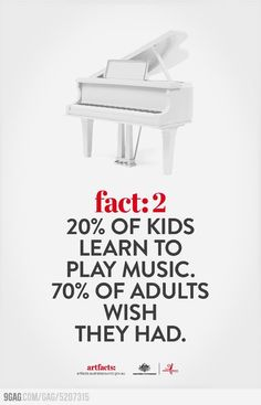 Fact: 20% of kids learn to play music. 70% of adults wish they had
