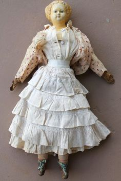 "Antique C1850S Large 23"" Greiner Paper Mache Doll Very Sweet 