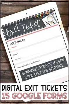 These 15 digital exit tickets work great for formative or self-assessments in upper elementary and middle school. They work with all subjects including ELA, reading, social science, math, and science! Use them in your Google Classroom with 4th, 5th, 6th, 7th or 8th grade students. Each exit slip is a seperate Google Form. NO PREP!! You can also use them for #distancelearning Grab yours today! (Year 4, 5, 6) #elementary #8thgrade #7thgrade #exitticket #distancelearning