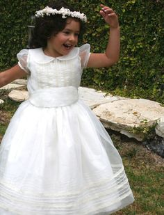 """This exquisite girls communion dress brings an ethereal lightness in this hand embroidered and laced organza overlay on a """"Timeless"""" silk or taffeta dress bringing two dresses in one. Cotillion Dresses, Girls Smocked Dresses, Girls Lace Dress, Girls Communion Dresses, Birthday Dresses, Christening Gowns, Special Occasion Dresses, Taffeta Dress, Chiffon Dresses"""