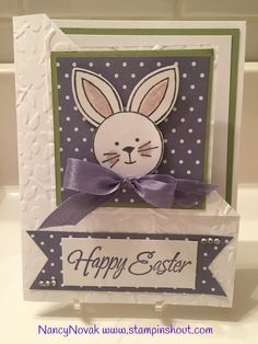 Stampin up easter cards, Happy Easter Bunny. Stampin' Up! Friends & Flowers, #stampinupeastercards