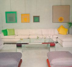 Joseph Albers paintings on cable system in 60s interior