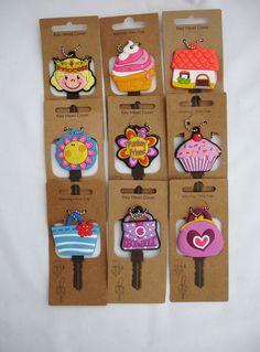 Schlüsselkappen - Prinzessin, Eiscreme, House, Blume, Cupcake, Tasche, usw.