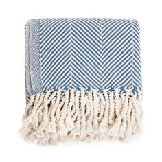 $236 Brahms Mount Cotton Herringbone Throw, Indigo (I may rename this board 'My Style Pinboard of Mostly Things I Cannot Afford')