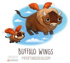 Daily Paint Buffalo Wings by Piper Thibodeau Cute Animal Drawings, Kawaii Drawings, Cute Drawings, Animal Puns, Funny Animals, Cute Animals, Animal Food, Cartoon Art, Cute Cartoon