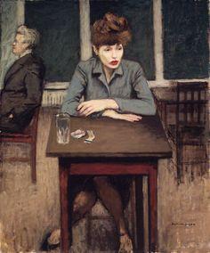 fleurdulys:  Cafe Scene - Raphael Soyer 1946