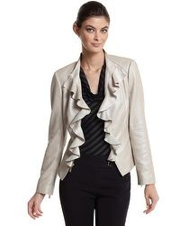 Flounced Neutral Leather Jacket from White House Black Market