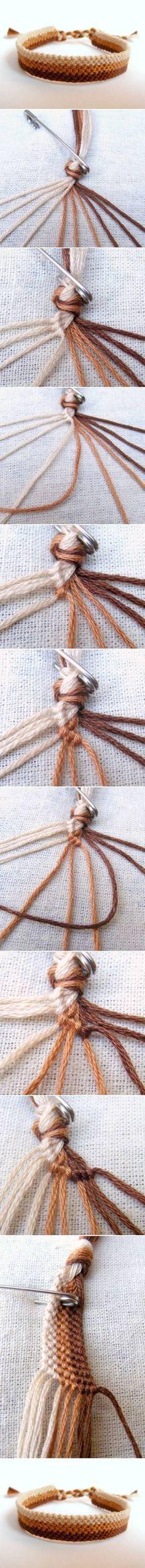 Pulseiras de linha. Imagens em: http://www.usefuldiy.com/es/diy-easy-weave-bracelet/ DIY Easy Weave Bracelet