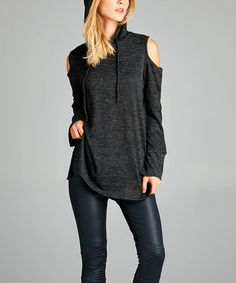 Another great find on #zulily! Charcoal Cold-Shoulder Hi-Low Hoodie #zulilyfinds