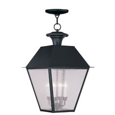 Mansfield Black Four-Light Outdoor Chain Hang 15W x 24.5H