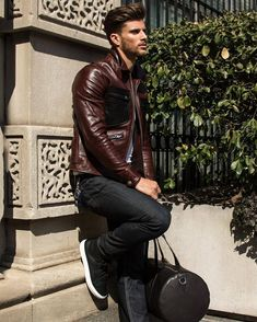 Leather fashion by Barrett Pall ft. Coach jacket // Find similar pins at Neimad Dee… Leather Jacket Outfits, Men's Leather Jacket, Leather Jeans, Leather Jackets, Leather Fashion, Mens Fashion, Fashion Guide, Fashion Menswear, Street Fashion