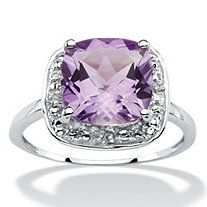 2.58 TCW Cushion-Cut Genuine Purple Amethyst Halo Ring in .925 Sterling Silver