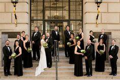 black tie wedding inspiration, long black bridesmaid dresses, black and green wedding inspiration, groom suit black tie from Glam Willard Hotel DC wedding by Ethan Yang Photography